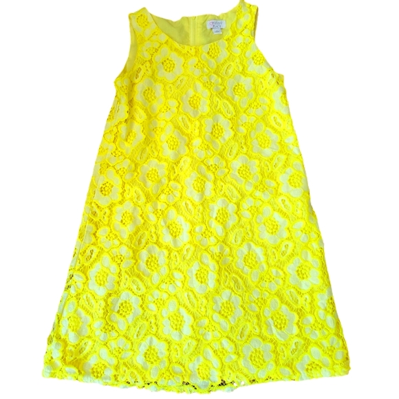Est 1989 Childrens Place Girls Yellow Floral Lace Overlay Sleeveless A Line Dres